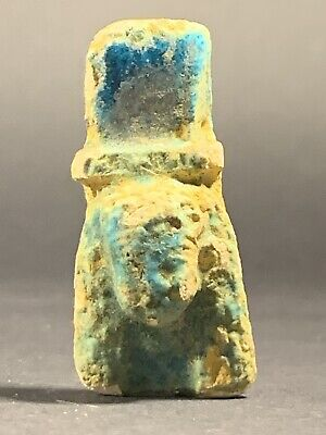 Ancient Egyptian Faience Bust Of Cleopatra Amulet Original Colour Circa 69-30Bc