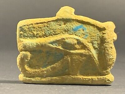 Ancient Egyptian Faience Eye Of Horus Amulet W/ Original Colour Circa 900-600Bce
