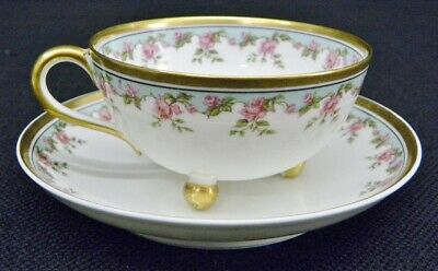 Haviland Limoges France Pink Rose Gold Trim 3 Ball-Footed Cup & Saucer Millar