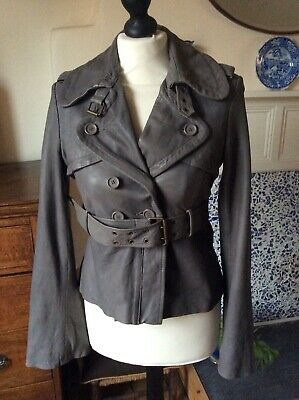 ALL SAINTS Ladies Grey Soft Leather Jacket SIZE 10 Great Cond (cost Over £300)