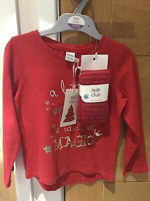BNWT Girls Christmas Top & Tights Set 3-4 Years Months Mini Club By Boots