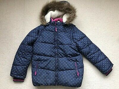 Girls John Lewis Coat (and Gilet), Navy With Spots, Age 11