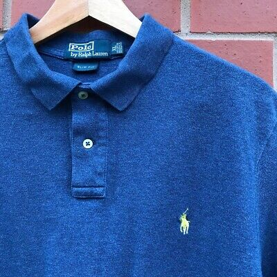 Mens Polo Ralph Lauren Blue Polo Shirt Size Extra Large - XL (Slim Fit)