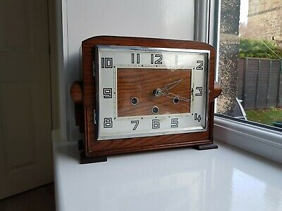 Art Deco Wood Case Chiming Mantle Clock