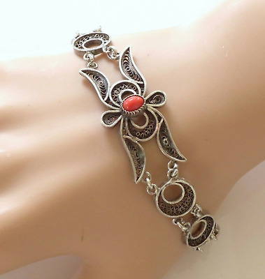 Vintage Art Deco Egyptian Middle East Filigree Silver Link Bracelet Red Bead