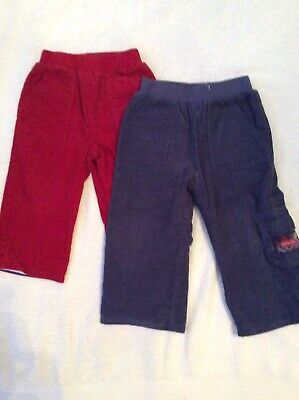 Jojo Maman Bebe Boys 2 Pairs Cord Lined  Winter Trousers Red & Navy 12-18 months