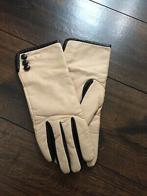 Womens RARE Soft Leather FRED PERRY Driving Gloves In Cream & Black Size M NEW