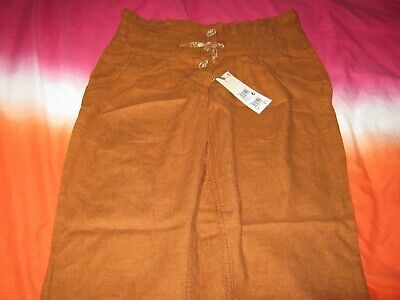 Rrp£17 Next Denim Girls Brown Tapered Leg Trousers Age 12 Brand New With Tags