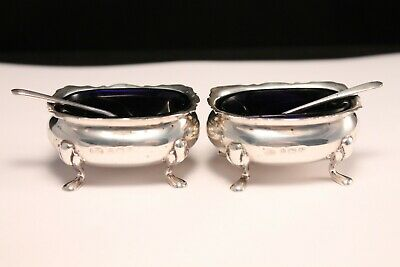 Alexander Clark & Co. Sterling Silver Footed Salt Cellars with Spoons 1937