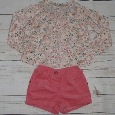 Beautiful NEXT Size 4-5 Years  Pink Cord Shorts & Blouse Outfit  Excellent Con.