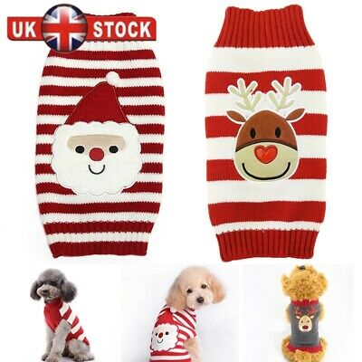 Dog Small Large Christmas Dog Sweater Clothes Cute Knitted Jumper Apparel Red