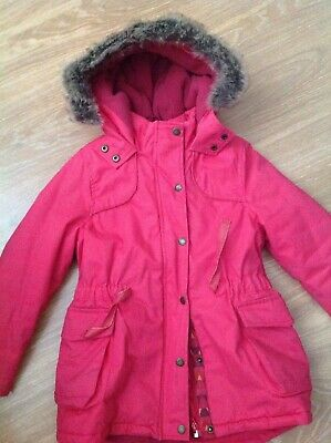 Catimini girls cerise pink coat with faux fur around hood age 8 years small size