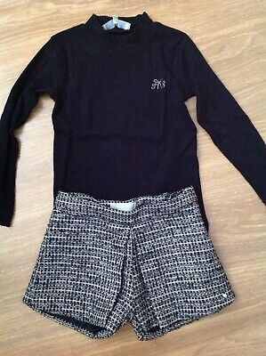 Tartine et choclat girls 2 piece set shorts and long sleeve top age 6 years smal