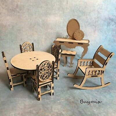 Various Wooden Dolls House Miniature Furniture MDF Vintage Table Chairs Clock