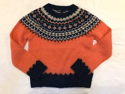 Gap Kids Girls Size 8 Sweater Fair Isle Mohair Wool Blend Coral Pink