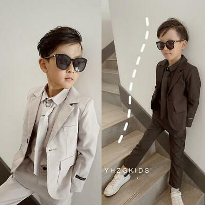 Kids Boys Casual Formal Party Suits Grey Black Wedding Prom Suit Page Boy Suit