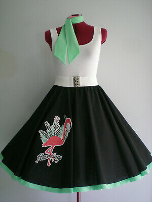 "ROCK N ROLL/ROCKABILLY ""Flamingo"" SKIRT & SCARF S-M Black/Mint/Pink."