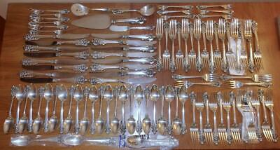Large Set Wallace GRANDE BAROQUE Sterling Silver Flatware 91 pcs Service for 16!