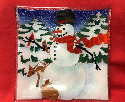 Signed Peggy Karr Art Fused Glass Snowman Deer Bunny Friends Plate Square w/Box
