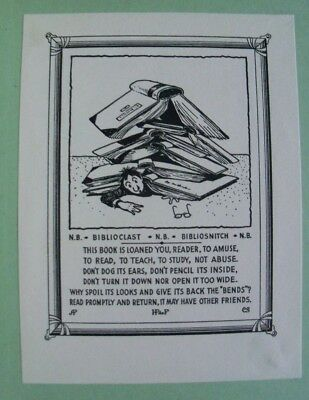 """Biblioclast Bibliosnitch"" Bookplate of Dr Henry Pelouze De Forest Criminologist"