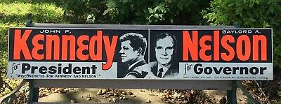 John F Kennedy for President Sign JFK 1960 Campaign Masonite from Wisconsin Rare