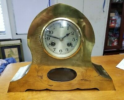 Antique Brass French Mantel Clock Very Unique Quality Clock 8 Day