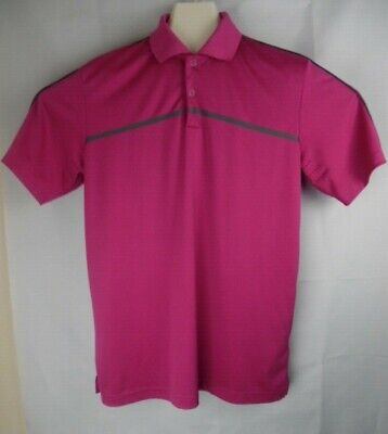 Adidas Golf PureMotion Cool Max Polo Shirt Men's Medium Metal Snaps Pink M