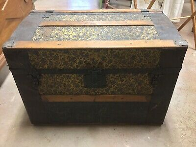 1800's Antique Small PRESSED TIN Steamer TRUNK Embossed Floral Metal WOOD Slats