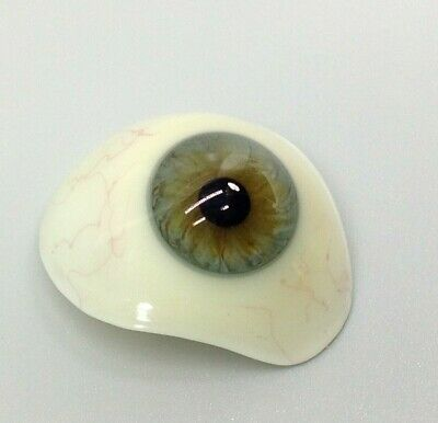 Antique Vintage Prosthetic Brown Blue Glass Eye