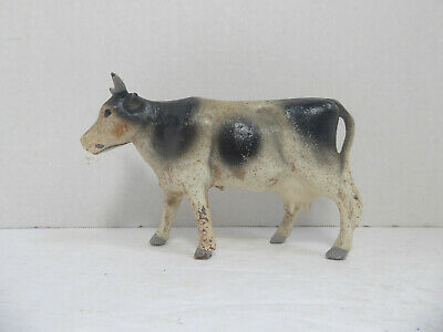 Vintage Cast Iron Cow Still Bank Traditional Black & White