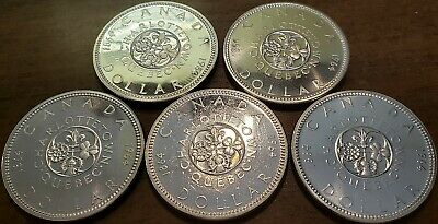 1964 CANADA $1 (5) .800 SILVER DOLLARS Brilliant Uncirculated Proof-Like Coins