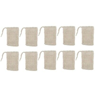 1X(10 Pack Natural Sisal Soap Bag Exfoliating Soap Saver Pouch Holder R8I9)