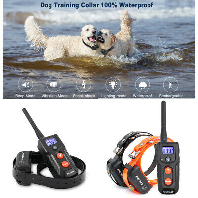 For 1/ 2 Dogs Petrainer Remote Waterproof Rechargeable Dog Training Shock Collar