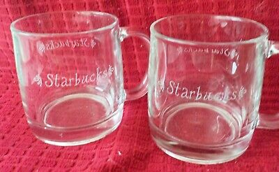 Set of 2 Starbucks 12oz Clear Etched Glass Drinking Coffe Mugs  Old Script Logo