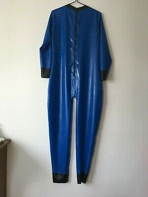 Hot Sale Latex Rubber Catsuit Schwarz&Blau Zipper Gummi Bodysuit Fixed Size 3XL