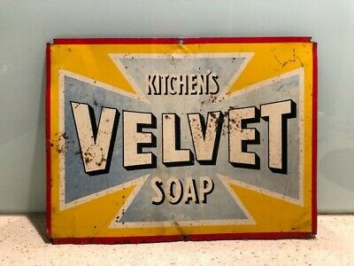 Original Old Vintage VELVET SOAP tin sign - not enamel, general store, shop