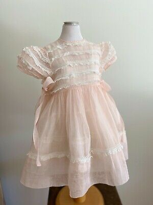 Pretty 1950's original made in France sheer pink party dress, vintage, pageant