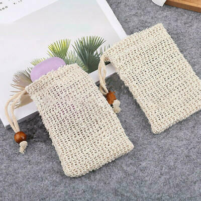 Natural Sisal Soap Saver Bag Net Mesh Exfoliator Foaming Pouch Eco Friendly * 10