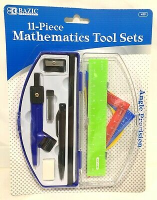 Precision Maths Set Compass Ruler Protractor Eraser Sharpener Pencil Blue