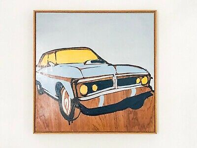 "JASPER KNIGHT ""750k Car"", 2012 Original Enamel on Timber 60cm x 60cm FRAMED"