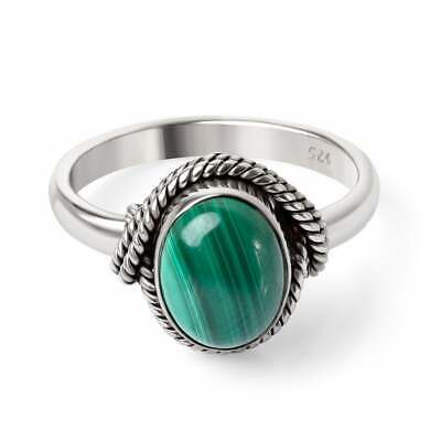 Solid 925 Sterling Silver Malachite Ring Antique Design Ring Christmas Gift U43