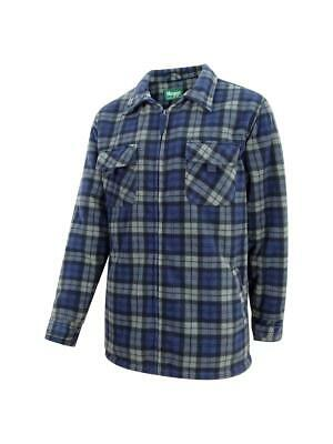 Hoggs of Fife Caithness Polar Fleece Work Shirt Navy/Grey Check  Shirts & Tops