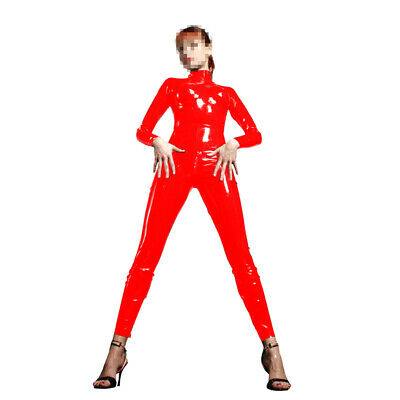 Cosplay Latex Rubber Catsuit Unisex Fashion Red Polished Overall Bodysuit S-XXL
