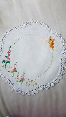 Stunning Hollyhocks Vintage Hand Embroidered Doily w BUTTERFLY