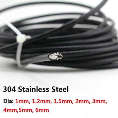 304 Stainless Steel Wire Rope Cable Cord Dia 1/1.2/1.5/2/3/4/5/6mm PVC Coated