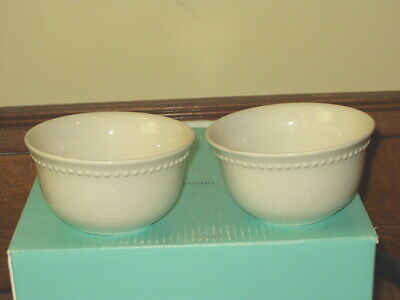 TWO Pottery Barn White Emma Soup Cereal Bowls Beaded Edge
