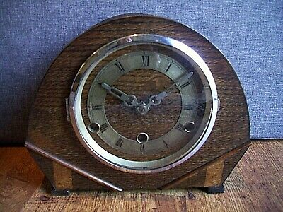 Antique 1930's Art Deco British Anvil Perivale Oak Mantel Clock with Chime & Key
