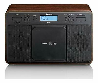 Lenco DAR-040 Walnut | Stereo DAB+/FM Radio/Bluetooth and Front Loading CD Playe