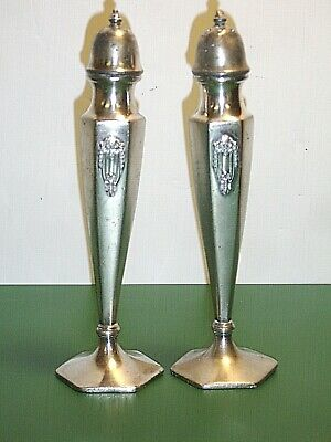 "Pair of Vintage W. B. Mfg. Co. Silver Plated 6-1/4"" Salt and Pepper Shakers"