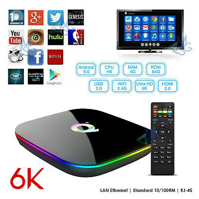 SMART TV BOX Q Plus 4GB RAM 64GB 6K ANDROID 9.0 PIE IPTV WIFI VELOCE OFFERTA